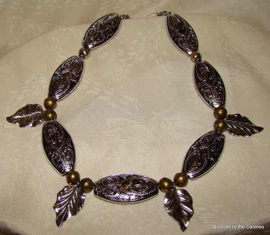 Bronze Silver Leaves dangle necklace