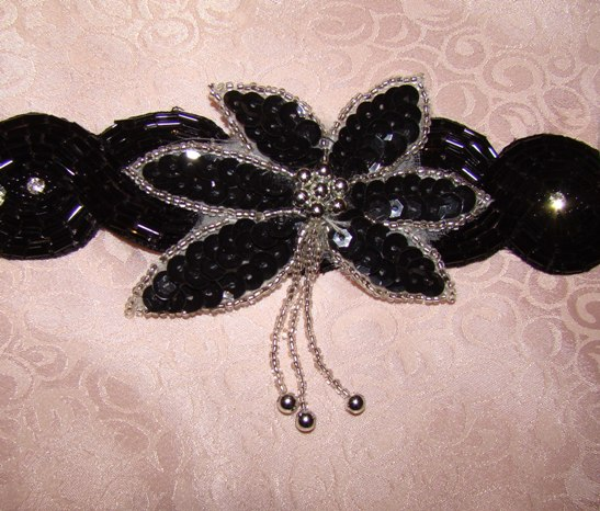 BLACK,SILVER DANGLE FLOWER