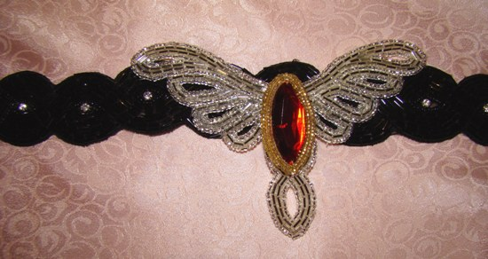 SILVER BUGLE BEAD CUT OUT WINGS ATTACHMENT-silver beaded,collar attachment,applique,dog,cat,buglebeads,seed beads