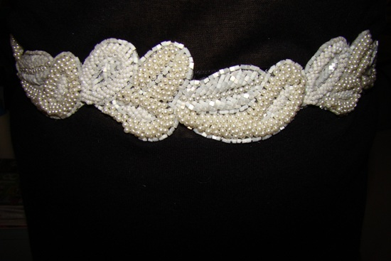Ivory Pearls White Bugle beads Womens Beaded Belt