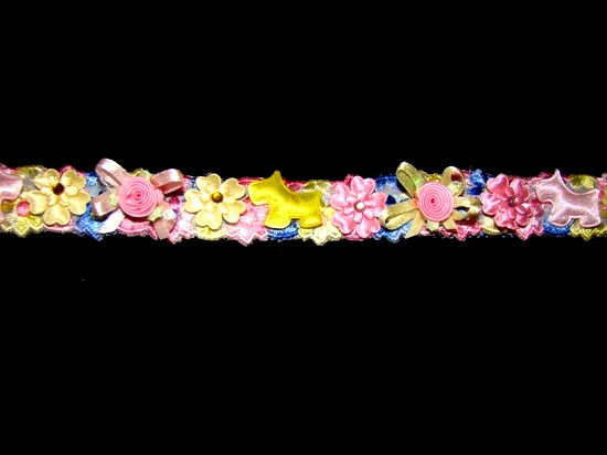 Satin Puppy Dogs Floral Ribbon Collar