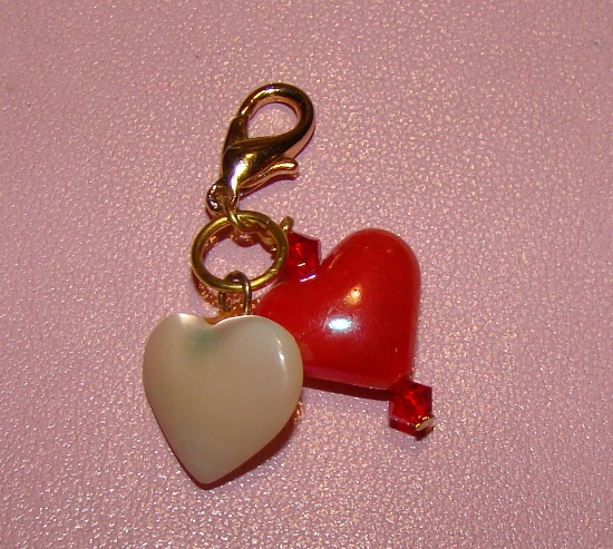 Pearl & Red Hearts Collar Charm