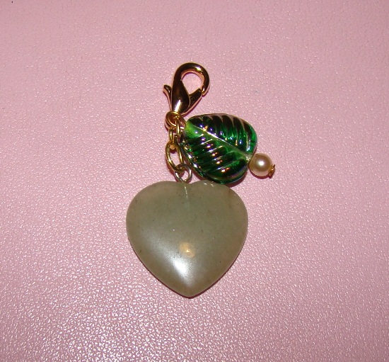 Green Jade heart glass accents Collar Charms