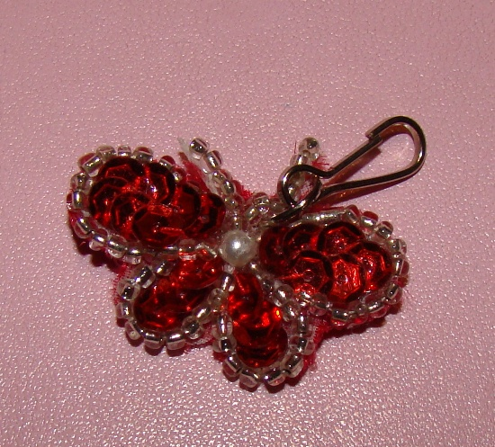 Red Sequin Butterfly Collar Charm