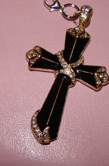 Lg. Black Cross Rhinestone collar charm