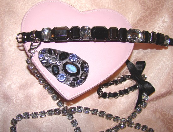 Rhinestones on Black Velvet Collar