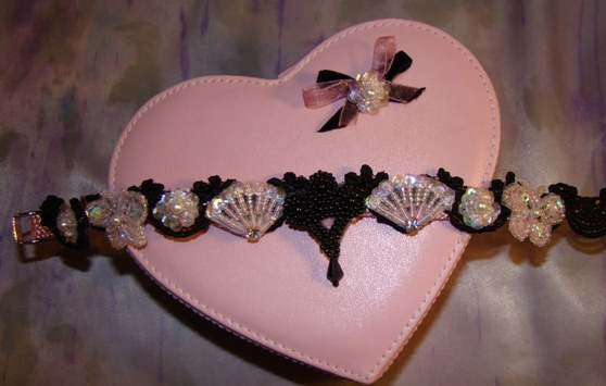 Pink Fans and Sequin Butterfly Collar