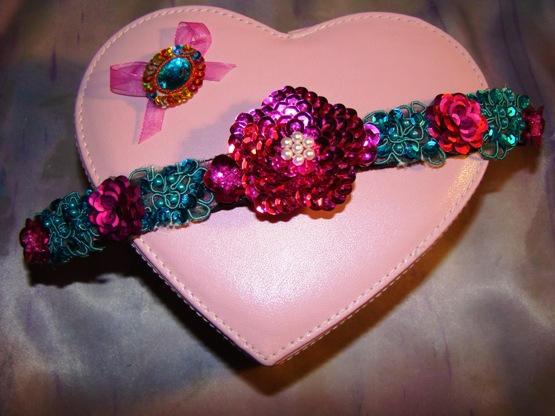 Turquoise and Magenta Beaded Sequin Collar Collar