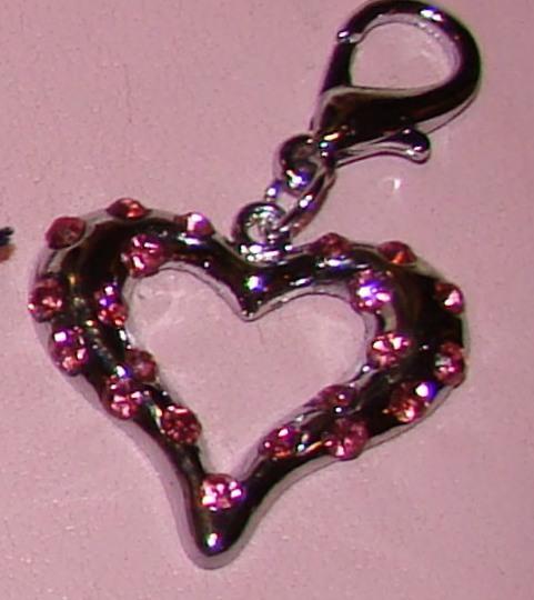Rhinestone Heart Collar Charm