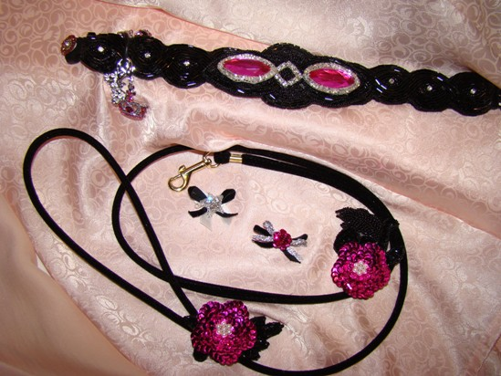 Black Fuchsia Beaded collar leash set