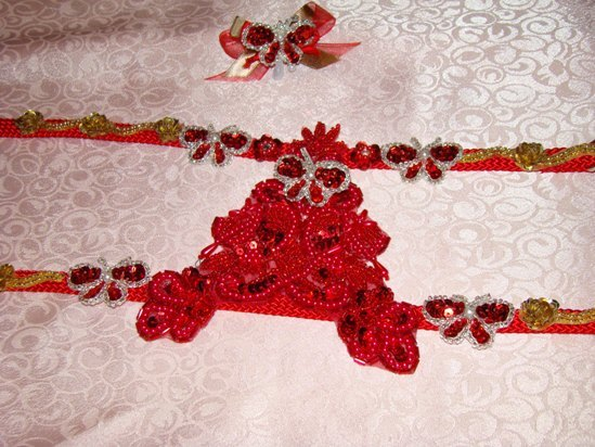 RED SEQUIN,BEADED BUTTERFLY HARNESS