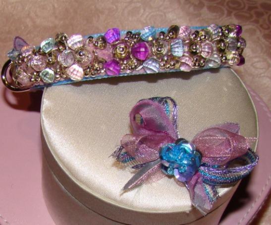 Lavender Pink Periwinkle Beaded Collar