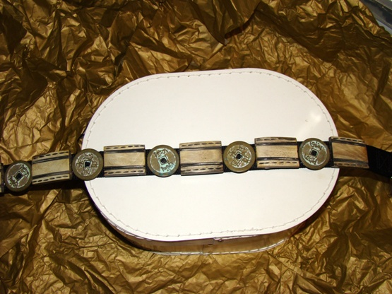 Asian Coin And Etched Wood Dog Collar
