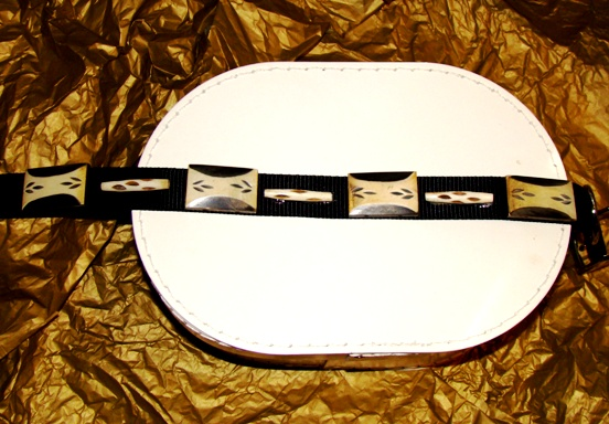 Black and Tan Etched Wood Design collar