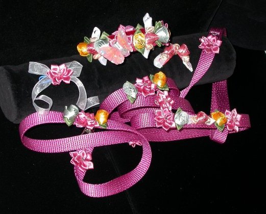 Mauve Satin Floral Collar Leash Set