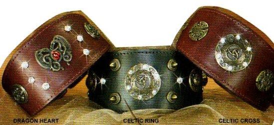 Dragon Heart Whippet Leather Dog Collar